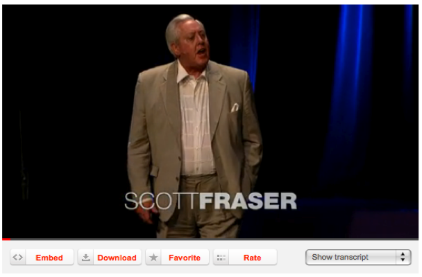"Figure 5: Video from TED.COM with ""Embed"" button and ""Show transcript"""