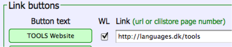 Figure 7: Making a button with a link to the TOOLS website with all words linked to online dictionaries