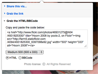 Figure 9: Sample embed code from Flickr