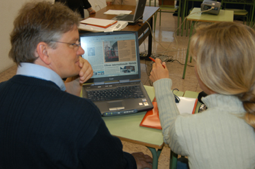 Two teachers working with materials development