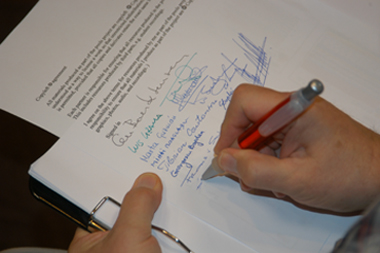 Copyleft agreement being signed